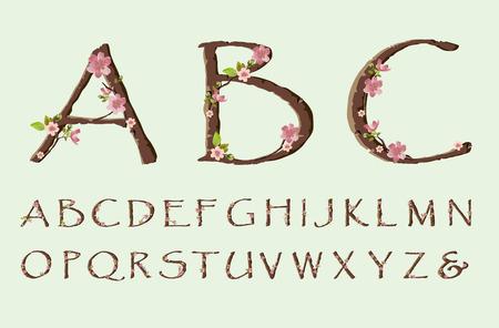 Vector cherry blossom spring font just alphabet Stok Fotoğraf - 36760149