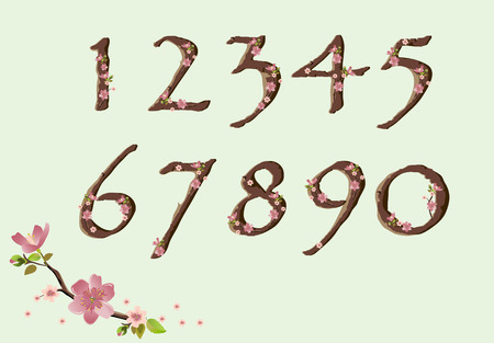 Vector cherry blossom spring font just digits Çizim