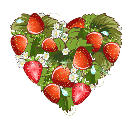 Vector illustration of strawberry fruit heart with blossom flowers