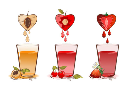 Vector illustration of apricot, cherry and strawberry fruit juice and glasses Çizim