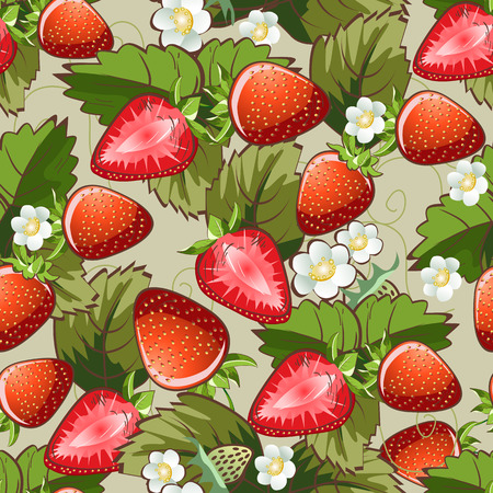 Vector seamless pattern background with strawberries and blossom flowers