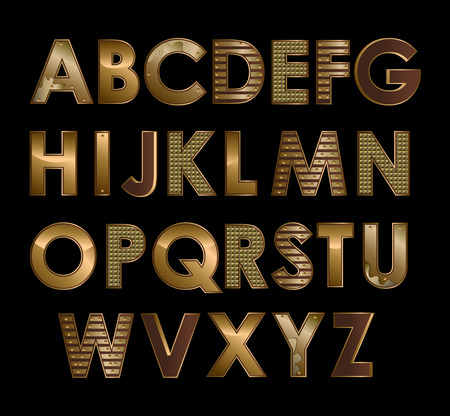 Vector gold metallic font all alphabet letters