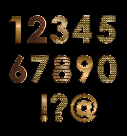 Vector gold metallic font all alphabet digits