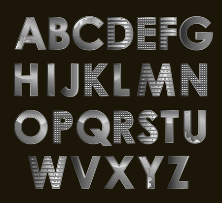 Vector silver metallic font all alphabet alphabet