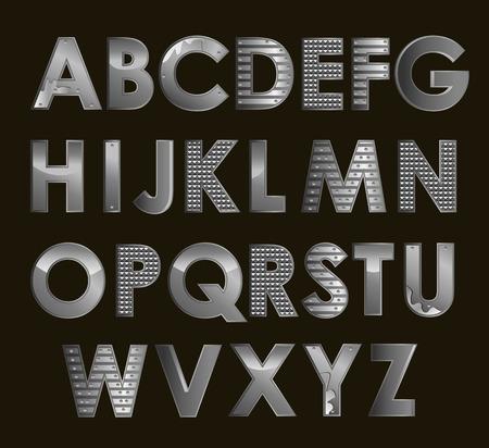 prata: Vector silver metallic font all alphabet alphabet