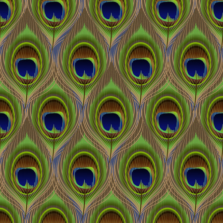Vector seamless pattern background with colorful peacock feathers