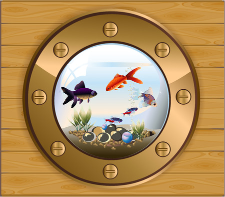 Vector illustration of batiskaf gold window aquarium with fishes and pebbles Stok Fotoğraf - 37040760