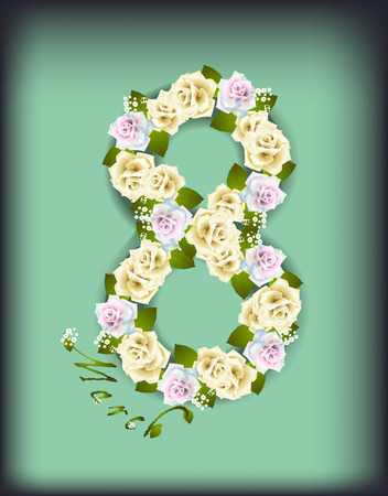 Vector illustration card for March 8 woman day with roses on green background Çizim