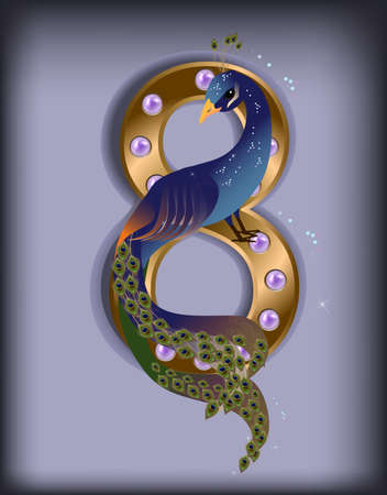 Vector illustration of holiday peacock for March 8 on blue background Stok Fotoğraf - 37196402