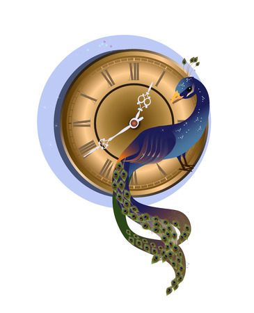 Vector illustration of blue peacock with gold clock