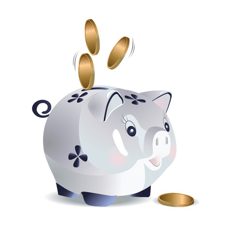 Vector illustration of blue cash pig with coins
