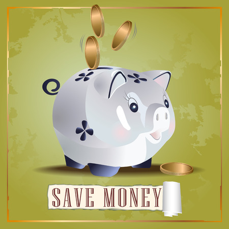 Vector illustration of save money cash pig with coins Çizim