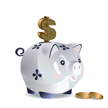 cash: Vector illustration of cash pig with dollar sign and coins