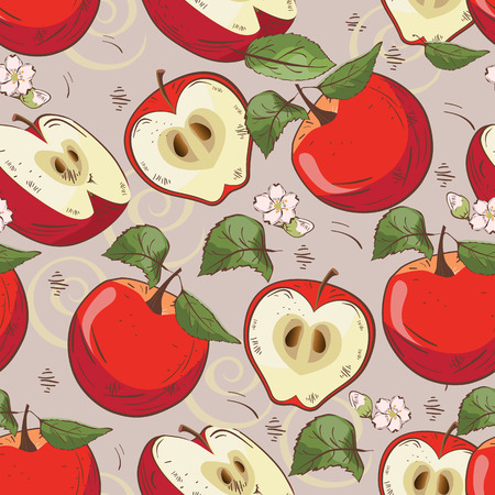 Vector seamless pattern background with apples and leaves