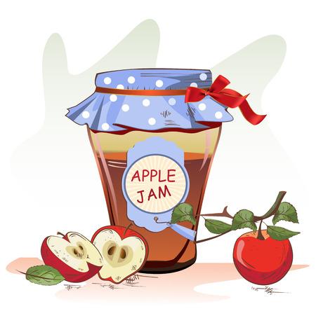 jam jar: Vector illustration of apple jam jar and apples
