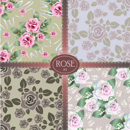 Vector set of seamless pattern background with colorful roses