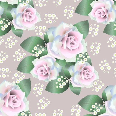Vector seamless pattern background with white roses Stok Fotoğraf - 38642808