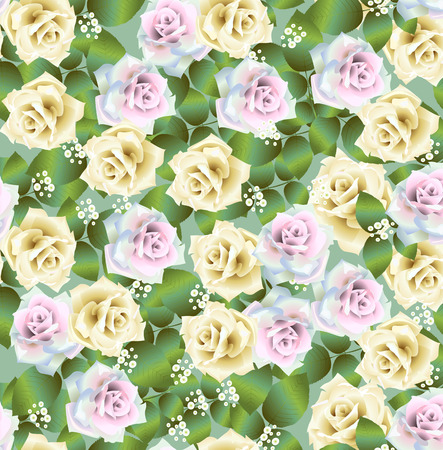 Vector seamless pattern background with colorful roses