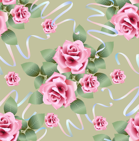ribbons: Vector seamless pattern background with rose roses and ribbons