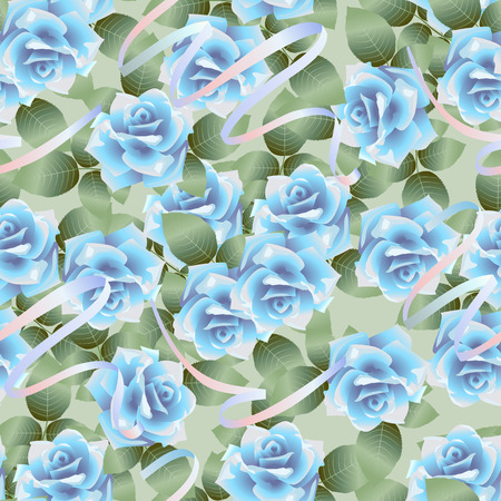 Vector seamless pattern background with blue roses Çizim