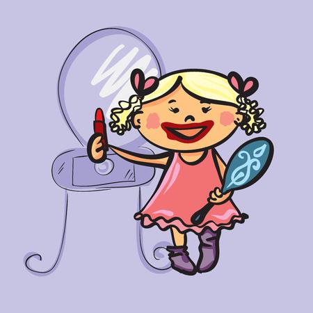 Cartoon girl  and firth make up