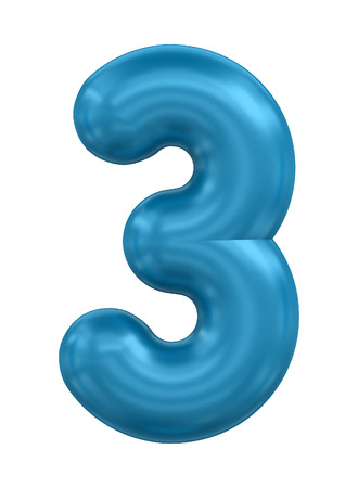 compliments: three-dimensional rendering balloon number in blue on a white background