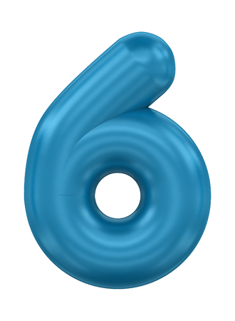 three-dimensional rendering balloon number in blue on a white background