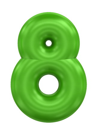three-dimensional rendering balloon number in green on a white background Stock Photo
