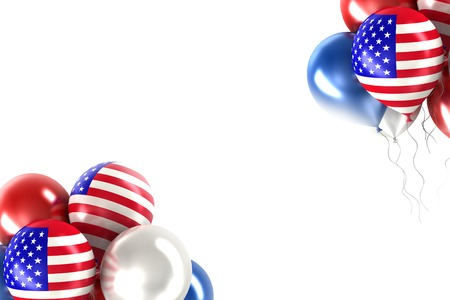circa: 3d rendering balloons with   U.S. flag on a white background Stock Photo
