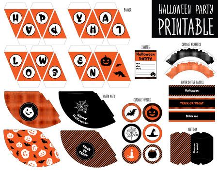 diecut: Printable set for Halloween party. Handmade. Cupcake wrappers printable.