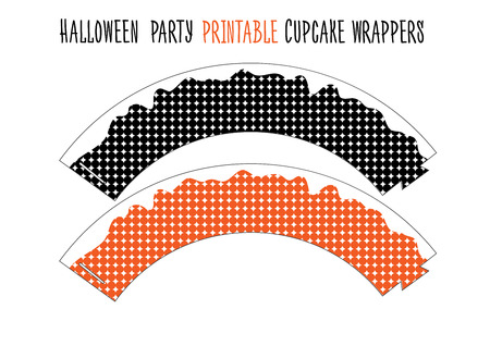 Printable set for Halloween party. Handmade. Cupcake wrappers printable.
