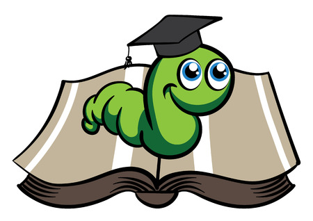bookworm: Vector green bookworm in the hat on white background