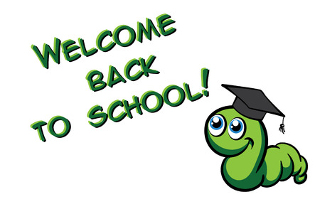 bookworm: Welcome back to school. Vector green bookworm in the hat on white background