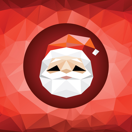 claus: Abstract Santa in polygonal style on red background
