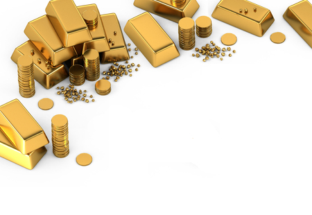 3d gold bars and coins frame on white Stock Photo