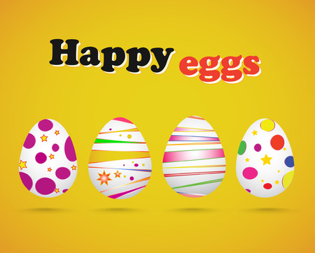 gray dot: Vector illustration of Easter eggs on yellow background Illustration