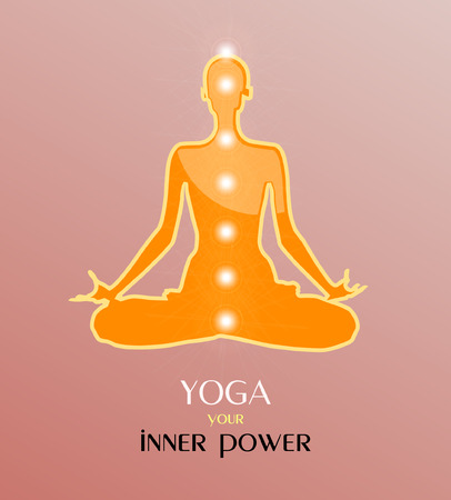 Vector illustration of yoga meditation in lotus position. Yoga is your inner power.
