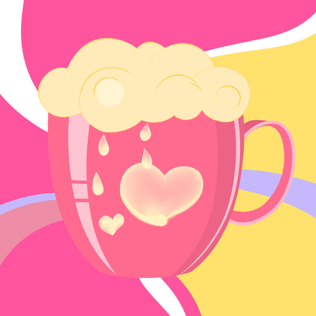 Vector illustration of pink cup with sign of love. Cream on colorful background.