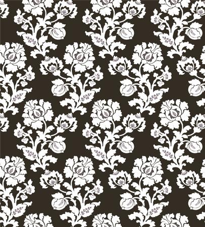 botton: Vector illustration of seamless black and white flower pattern. Illustration