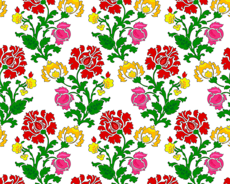 Abstract red, yellow and pink flowers on white background.