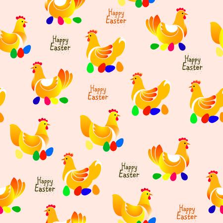 artboard: Vector illustration of chicken pattern on light background