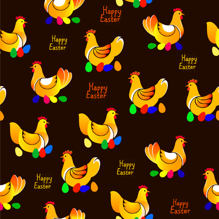 artboard: Vector illustration of chicken pattern on dark background Illustration