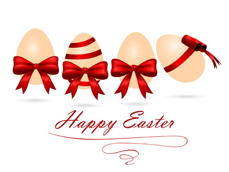 Vector illustration of Easter eggs with red ribbon and bow on white background. Illustration