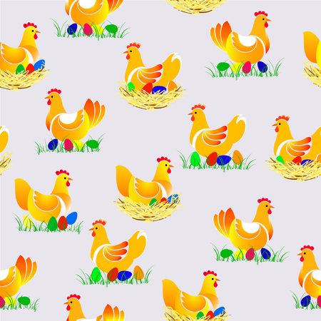 Beautiful vector illustranion of chicken seamless pattern. Chicken with colorful eggs on the nest and on the grass. Illustration