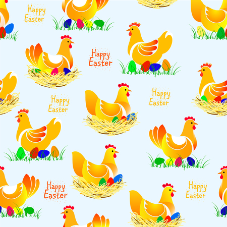 Beautiful vector illustranion of chicken seamless pattern. Chicken with colorful eggs on the nest and on the grass. Happy Easter.