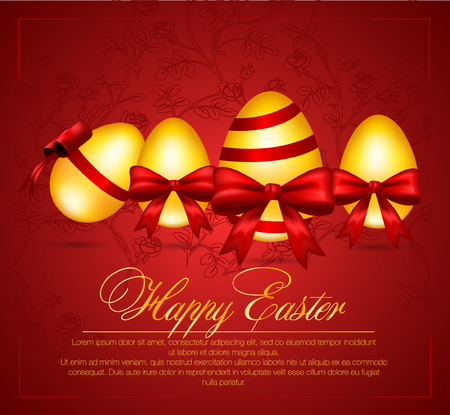 ides: Beautiful vector illustration of Easter eggs. Happy Easter greeting card. Illustration