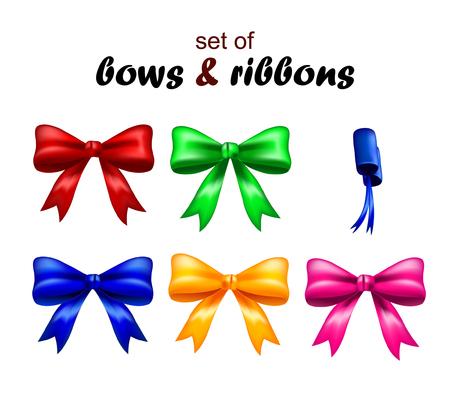 Vector illustration of colorful ribbons and bows. Set of bows and ribbons.