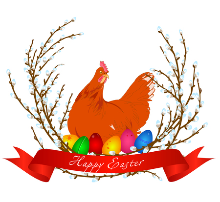 Vector illustration of chicken, easter eggs and spring willow. Can be used for Easter greeting card. White background.