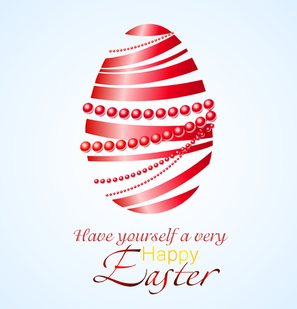 Beautiful vector illustration of Easter egg made from red ribbon and red pearl.