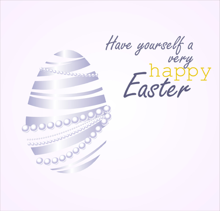 Beautiful vector illustration of Easter egg made from white ribbon and white pearls.